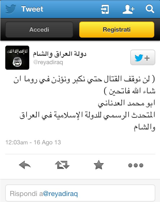 Dall'account Twitter ufficiale dello Stato Islamico dell'Iraq e al-Sham,