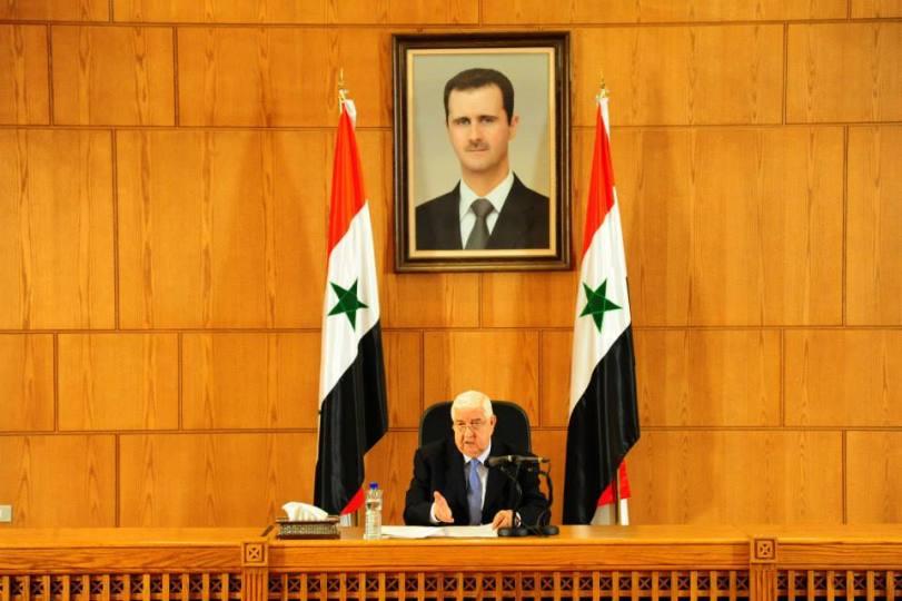 Damasco conferenza stampa Ministro degli Esteri Walid Al-Moallem